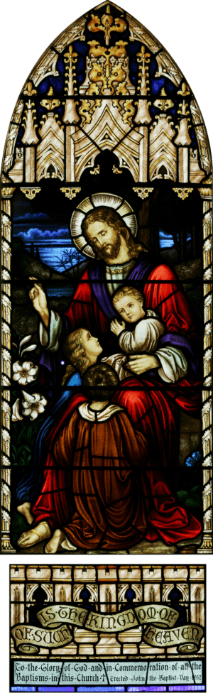 Stained glass panel in the nave of St. John's ...