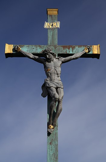 Jesus on the cross on the Stone Bridge in Píse...