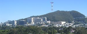 UCSF Medical Center and Sutro Tower behind it....