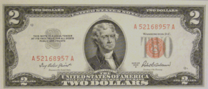 A small-sized 1953 $2 note, displaying the sma...