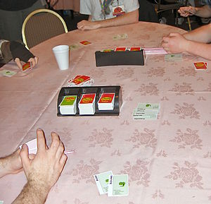 A card game (Apples to Apples) in progress at ...