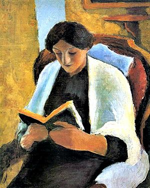 English: Reading woman Deutsch: Lesende Frau F...