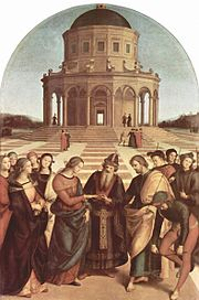 The ideal centrally-planned urban space: Sposalizio by Raphael, 1504