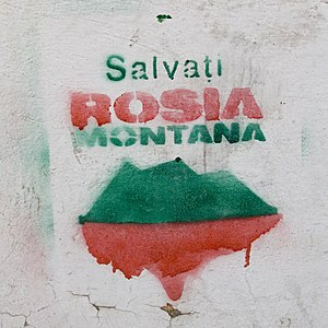 """Graffiti """"Salvaţi Roşia Montană"""" (cf..."""