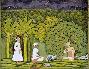 English: Akbar and Tansen visit Swami Haridas ...
