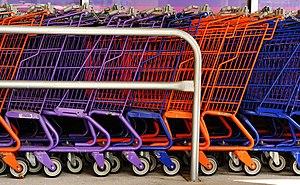 A row of shopping carts.