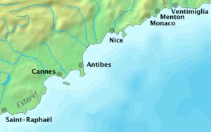 Français : Côte est de la Côte d'Azur, France