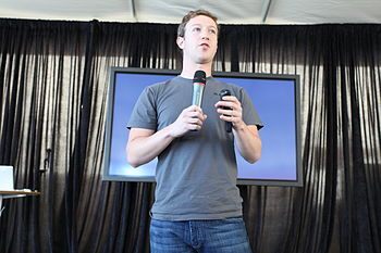 Mark Zuckerberg, founder and CEO, shows off th...