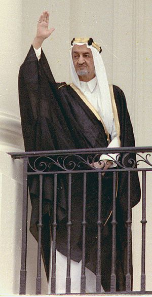 King Faisal of Saudi Arabia on arrival ceremon...