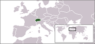 A map showing the location of Switzerland