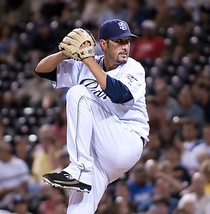 Pitcher Mike Adams of the San Diego Padres