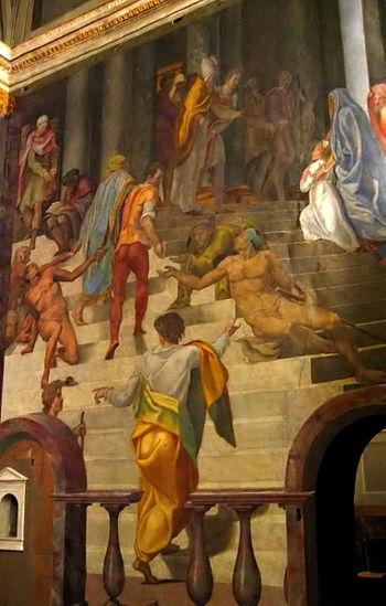 Fresco by Daniele da Volterra, c.1548, in the ...