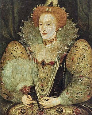 Damaged portrait of Elizabeth I of England, To...
