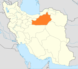 Map of Iran with Semnān highlighted