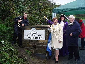 English: New boundary stone at Smithies Bridge...