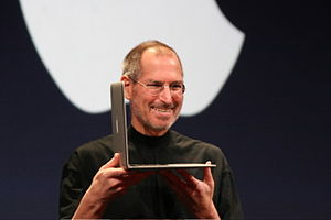 Steve Jobs with his MacBook Air at Macworld 2008.