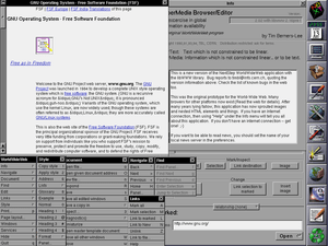 WorldWideWeb showing many of it's functions