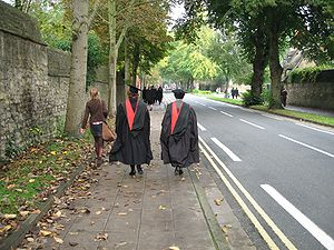 Gowns showing hoods, from behind, walking alon...