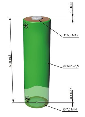 Typical dimensions of AA battery.