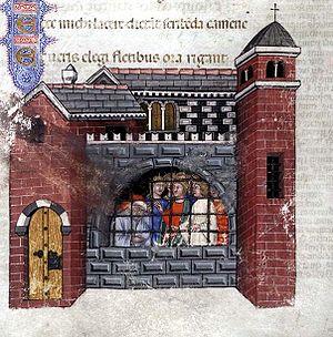 Boethius imprisoned (from 1385 manuscript of t...