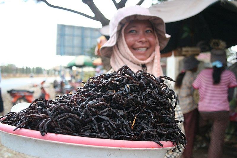 Gefrituurde vogelspinnen in Skun - voedsel voor mensen met ballen van staal (niet mijn foto)