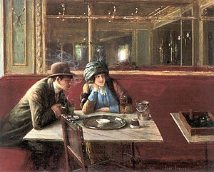A couple dating in a cafe.