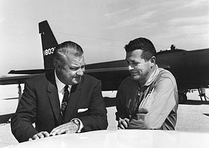 U-2 designer Kelly Johnson (left) with pilot F...