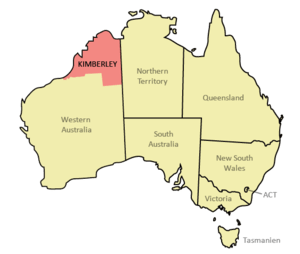 Location of the Kimberley region in Australia....