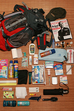 Packing for a trip. Equipment includes a First...