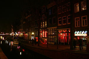 A photograph taken of the Red Light District i...