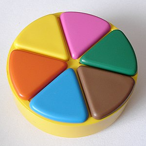 A Trivial Pursuit playing piece, with all six ...