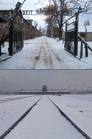 English: Entrances to Auschwitz and Birkenau w...
