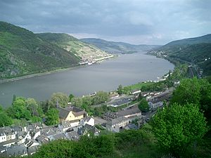 View over Bacharach, Germany and the Rhine fro...