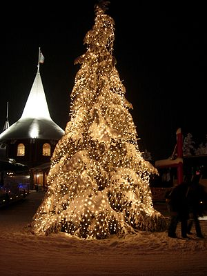 A Christmas tree at Santa Claus' Park. In 2005...