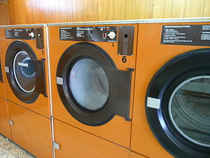 Clothes dryer at East Hotel Hamburg, Germany.