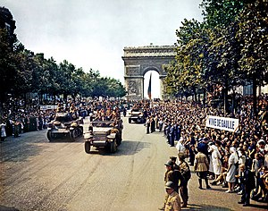 Crowds of French patriots line the Champs Elys...