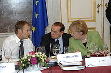Merkel, Polish Prime Minister Donald Tusk and Italian PM Silvio Berlusconi, 2008
