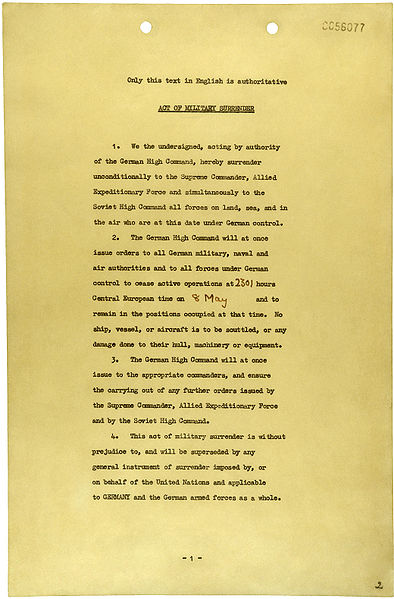 File:German Instrument of Surrender (May 7, 1945) - page 1.jpg