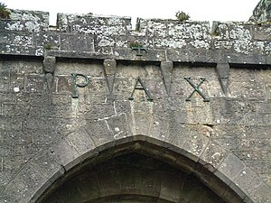 "Glenstal Abbey. ""Pax"" over main entr..."