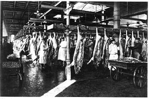 Inspectors of armed forces control meat handli...