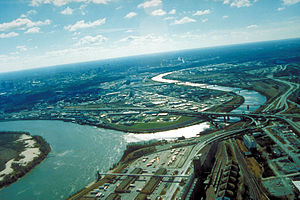English: Aerial view of Kansas City, Kansas, l...