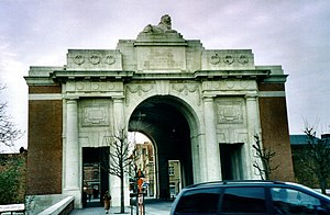 The Menin Gate Memorial, in Ypres, Belgium.
