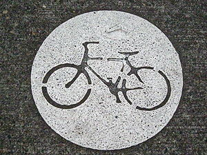 Bike stencil on Portland, Oregon's bike routes.