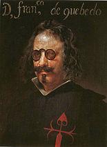 Conceptismo: Francisco de Quevedo, retrato atribuido a Juan van der Hamen o a Velázquez.