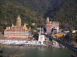 View of Rishikesh across the Laxman Jhula bridge.