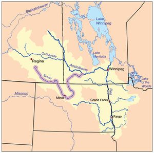 The Red River drainage basin, with the Souris ...