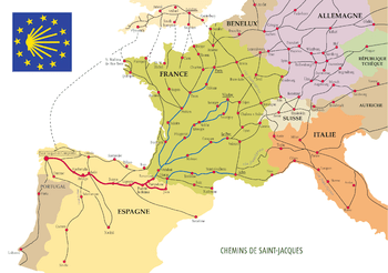 Map of the way of St James In Europe