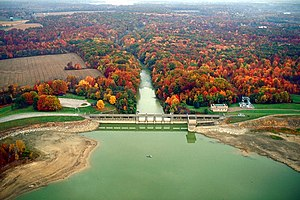Berlin Lake and Dam on the Mahoning River in M...