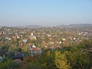 English: View of Pesthidegkút from Fazekas Hil...