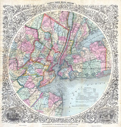 1846 - 1879 Colton Map of New York City ^ Vicinity (33 Miles Around) - Geographicus - NYC33Miles-colton-1879